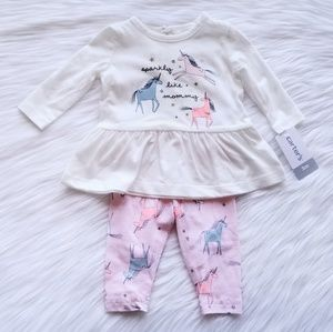 NWT Carter's Unicorn Outfit Set Size 3 Months